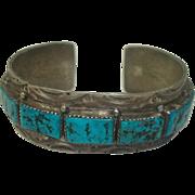 Signed Sandra Henrio Turquoise Sterling Cuff Bracelet