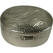 Sterling Oval Engraved Pill Box