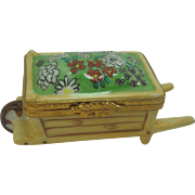 Dubarry Limoges Porcelain Floral Wheelbarrow Pill Box