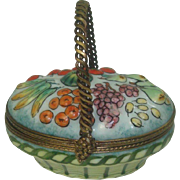 Limoges Hand Painted Basket of Vegetables/Fruit Pill Box
