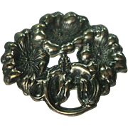 Antique Sterling Art Nouveau Floral Hat Pin