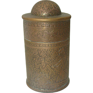 Antique Asian Brass Match Safe with Musical Theme