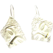 Designer Cast Silver Earrings Face signed