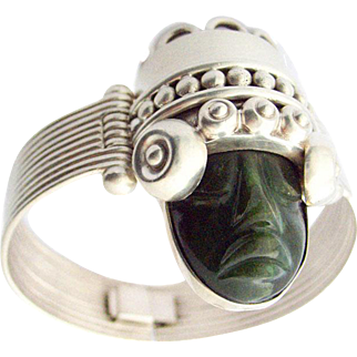 Los Ballesteros Taxco Mexico Silver Bracelet Nephrit Jade Face Mask Bangle