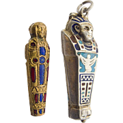 Silver Enamel Charm Pendant Sarcophagus with Original Mummy 1920`s Egyptian Revival