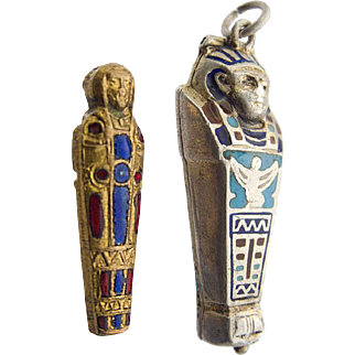 Silver Enamel Charm Pendant Sarcophagus with Original Mummy 1920`s Egyptian Revival