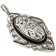 Gorgeous Art Deco Silver black Enamel Pendant Marcasites Braendle Era