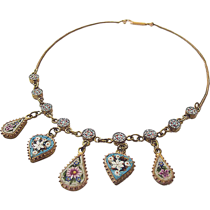 Micromosaic Necklace Millefiori 19th century handwork metal gilt rare c. 1870