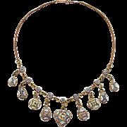 Micromosaic Necklace Millefiori 19th century handwork metal gilt rare c. 1870