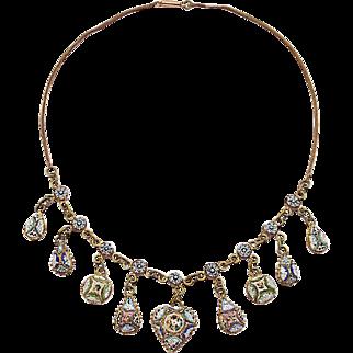 Micro mosaic Necklace Millefiori 19th century handwork metal gilt rare c. 1870