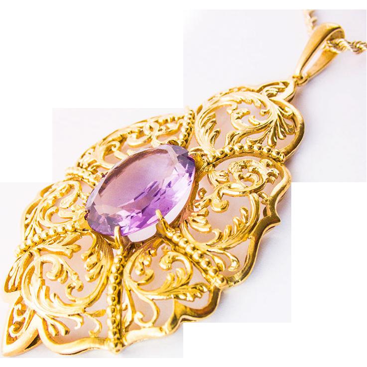 Antique Victorian Art Nouveau Silver gilt Necklace hand sawn Amethyst 1890 1900