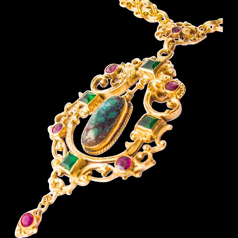 Antique Victorian Art Nouveau Silver gilt Necklace Turquoise 1880-1900