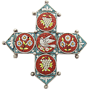 Antique Micro mosaic Millefiori flower silver pin brooch with a dove and grapes c. 1860 rare Victorian Age micromosaic