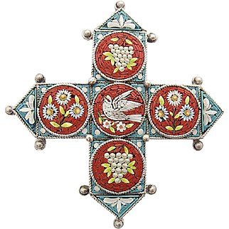 Antique Micro mosaic Millefiori flower silver pin brooch with a dove and grapes c. 1860 rare Victorian Age