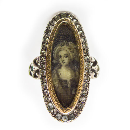 magnificent georgian silver paste ring miniature painting