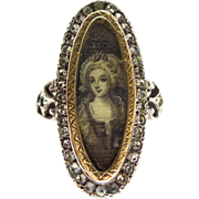 Magnificent Georgian Silver Paste Ring Miniature painting Sepia cluster c 1780