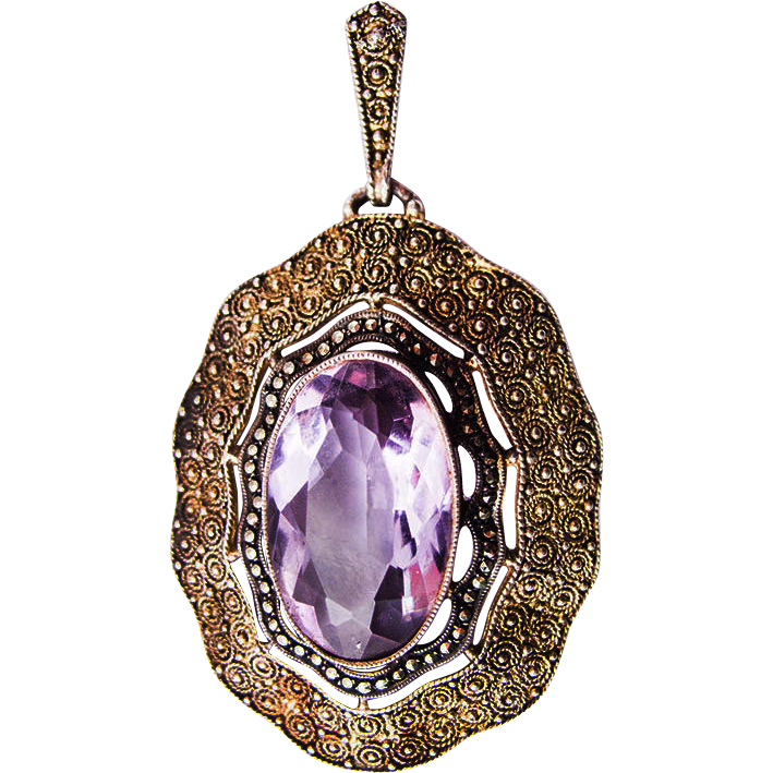 Vintage German Theodor Fahrner sterling silver vermeil pendant marcasite amethyst 30s