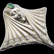 Antique Victorian Art Nouveau Silver Hatpin Lady Face c.1900