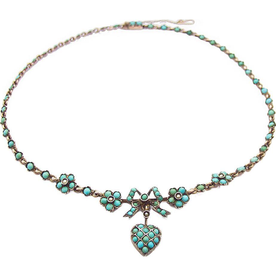 Antique Victorian Art Nouveau Silver Necklace Turquoise Heart Bow 1890 1900