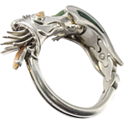 Gorgeous Taxco Mexico Sterling Silver 58 Bracelet Fire drake Dragon Turquoise Fire Opal vintage