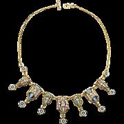 Micromosaic Necklace Millefiori 19th century handwork metal gilt rare c. 1860