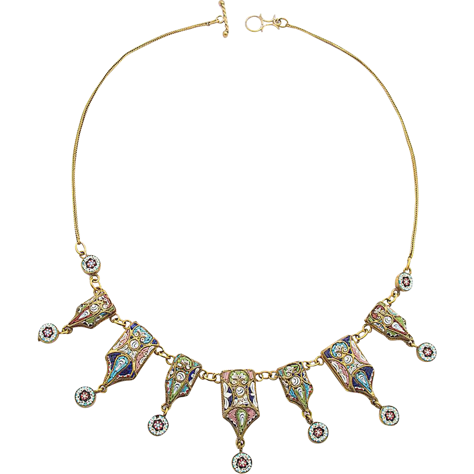 Micromosaic Necklace Millefiori 19th century handwork metal gilt rare c. 1860