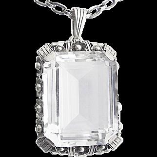Edwardian Art Deco Silver Pendant rock mountain crystal 30s