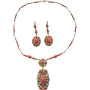 Czech Bohemian Art Deco Faux Coral Necklace And Earrings Set Metal Gilt Probably Gablonz Boho c.1920s