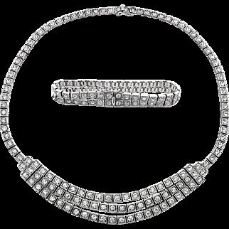 Edwardian Art Deco Set Necklace Bracelet Strass Sterling Silver 935 Paste Stones