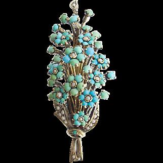 Magnificent rare antique Victorian Biedermeier Silver Brooch Turquoise sweet water pearls c. 1875 Vienna Austria