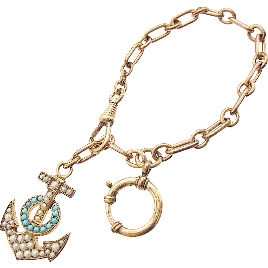 Rare Antique Victorian Double Watch Chain with an Anchor Turquoise Freshwater Pearl
