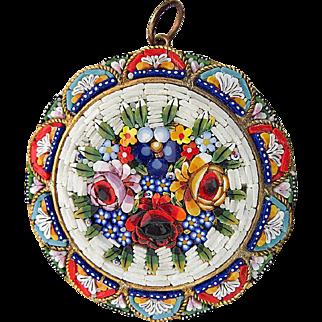 Vintage Art Deco micro mosaic pendant Millefiori c.1930s to 1950s