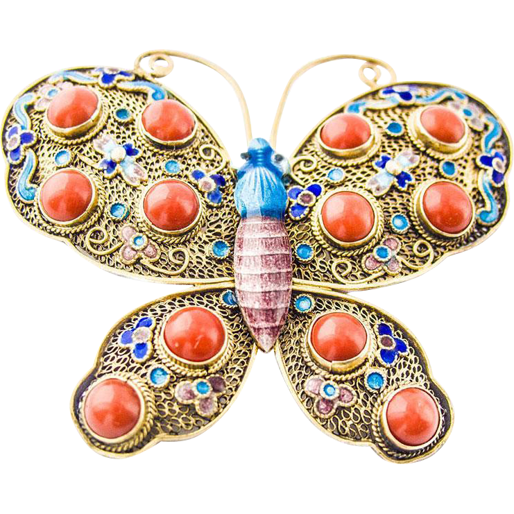 Art Nouveau Butterfly Silver Pin Brooch Enamel Coral China