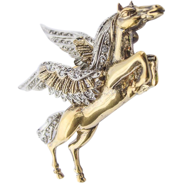 Gorgeous large vintage Sterling Silver Gilt Pegasus Paste Pin Brooch Winged Flying Horse