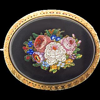 Gorgeous antique Micro Mosaic 14ct Gold Pin Brooch c. 1860 rare Millefiori Micromosaic