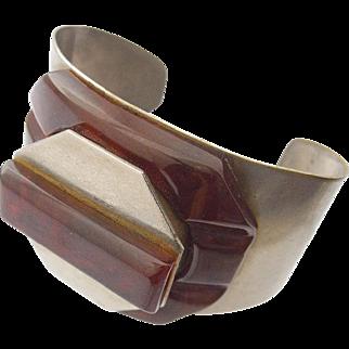 French Chrome Bakelite Cuff Bracelet Compact Signed Albert Flamand  Paris France