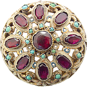 Antique Silver gilt Pin Brooch Austria  - Hungary Garnet Turquoise Enamel c. 1870 austrian hungarian
