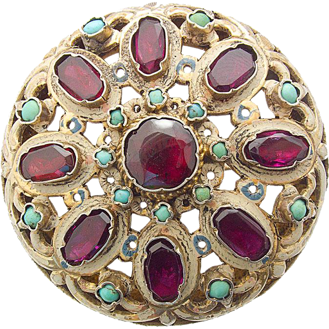 Antique Silver gilt Pin Brooch Austria  - Hungary Garnet Turquoise Enamel c. 1870 austrian hungarian