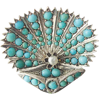 Charming rare antique Victorian Art Nouveau Silver Brooch Turquoise fresh water pearl c. 1890
