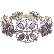 Art Nouveau Silver Bracelet Amethyst Cabochons signed KT