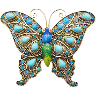 Art Nouveau Butterfly Silver gilt Pin Brooch Enamel Turquoise China