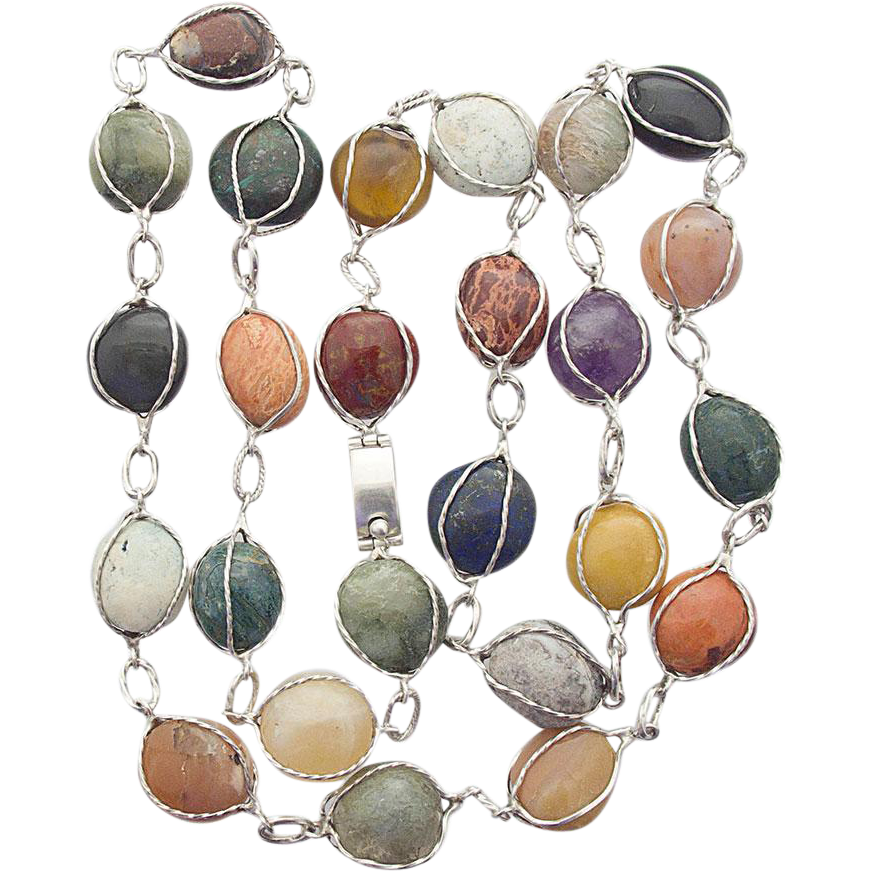 Taxco Mexico 925 Sterling Silver Necklace Collar multi gem