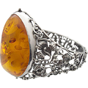 Vintage Amber Silver Bangle Bracelet Flowers Filigree