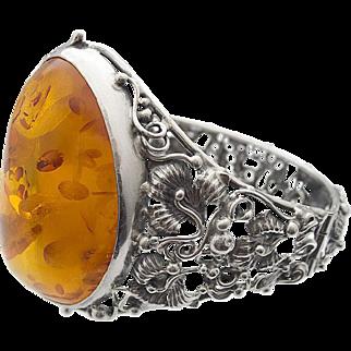 Vintage Amber Silver Bangle Bracelet Flowers Filigree