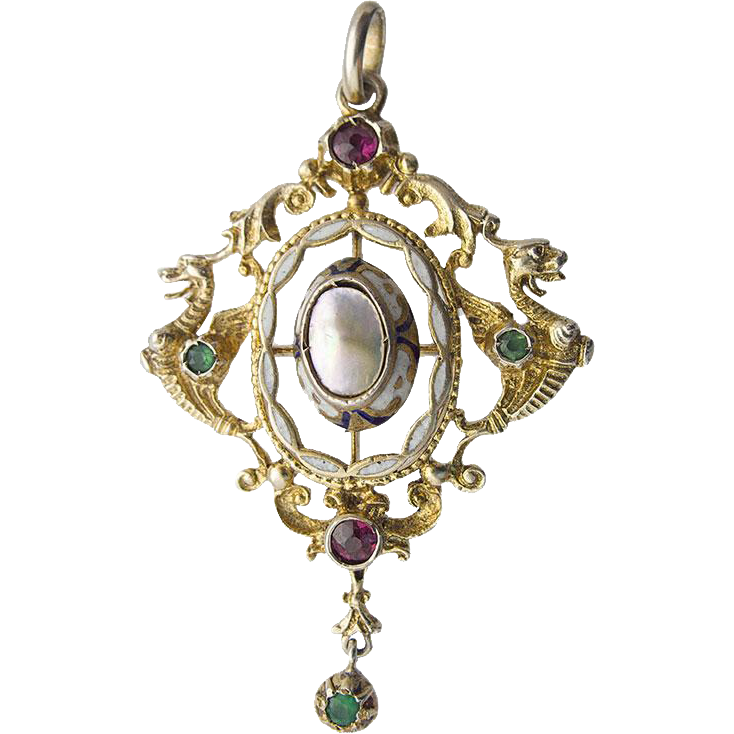 Historism Neo Renaissance Silver Pendant Chimera Dragon Gilt Garnet Green chrysoprase Mother Of Pearl