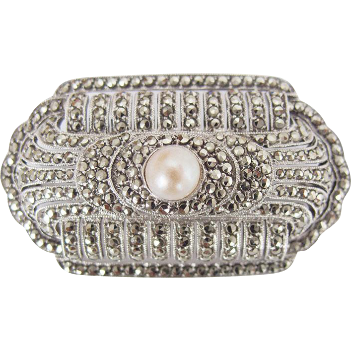Gorgeous Edwardian Art Deco Silver Pin Brooch Marcasites Cultured Pearl c. 1930