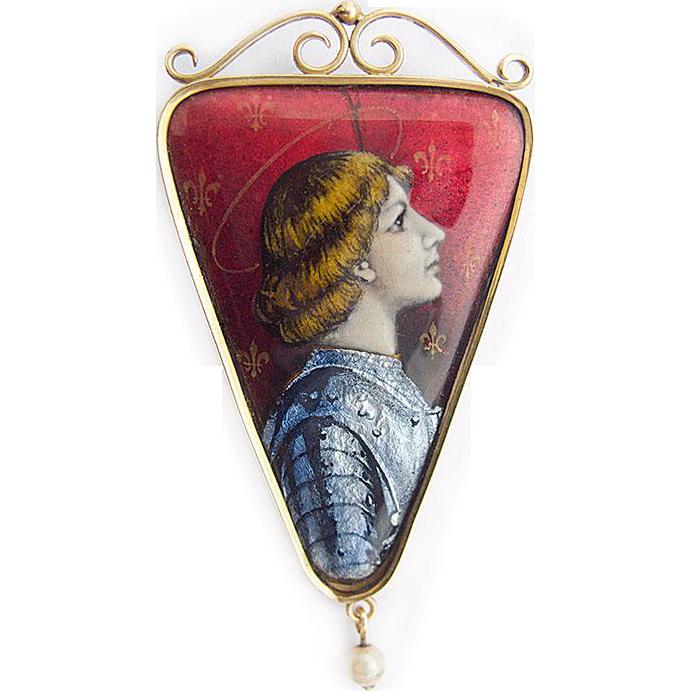 Jeanne D`Arc Enamel Pendant Art Nouveau Gold 750 / 18ct