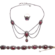 Garnet Set Silver Necklace Bracelet Ring
