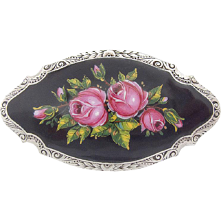 Rare large Art Nouveau Enamel Silver Brooch Roses hand painted Blossoms c.1900
