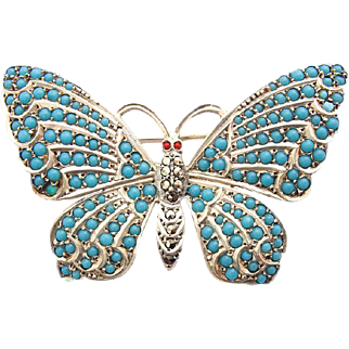 Vintage Silver Brooch Butterfly turquoise stones Marcasites 935 Sterling